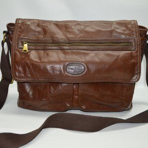 Fossil Large Brown Leather Laptop Messenger Bag
